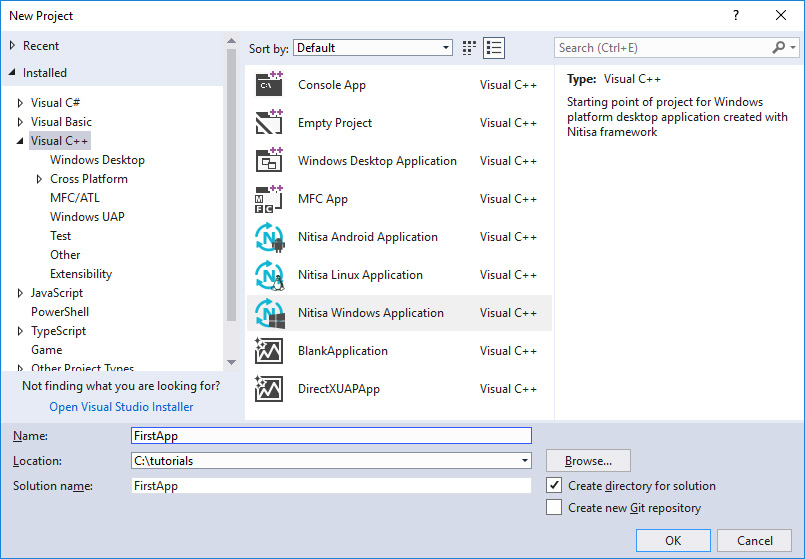 Create project in Visual Studio with installed Nitisa extension